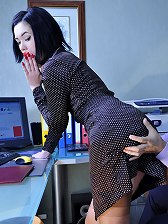 Sultry office babe in elegant tan stockings boned and jizzed by a co-worker